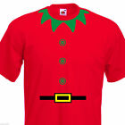 Childrens Christmas Elf costume T shirt, Ideal Fancy Dress, Ages 1-15 Red Tshirt