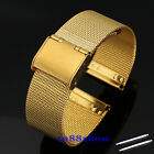 New Gold Lug 18 20 22 mm Stainless Steel Watch Mesh Bracelets Ajust Strap Band