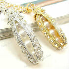 HOT Gold Silver Bling Crystal Rhinestone Pearl Pea Beads Pendant Necklace Chain