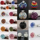 30 Color Crystal Rhinestone 925 Sterling Silver Charm Pendant Disco Ball 10 14mm