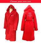 Personalised Hooded Towelling Bathrobe / Dressing Gown - Red with Spiral Cord