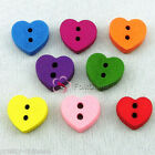 Mixed Heart 11mm Wood Buttons Sewing Scrapbooking Cardmaking Craft NCB047
