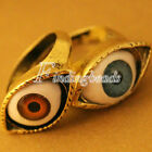 European Vintage Retro Gothic Punk Rock Evil Oval Eye Rings Coffee/Blue Choose
