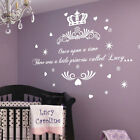 Personalised Once upon a Time Princess Name Art Wall Quotes Stickers Bedroom