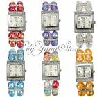 Lady Women Beads Band Rhinestone Crystal Bracelet Quartz Wrist Watch Xmas Gift