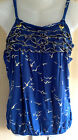 Ladies Bird Print Blue Ruffle Detail Summer Strappy Top Sizes 8 10 or 12 NEW