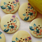 Lotus Floral 30mm Wood Buttons Sewing Scarpbooking Craft Cardmaking A004