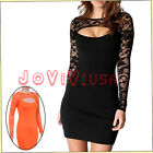 Women Sexy Black Orange Long Sleeve Floral Lace Front Cutout Bodycon Party Dress