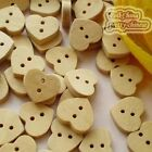 Natural Heart 11mm Wood Buttons Sewing Scrapbooking Cardmaking Craft NCB047