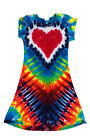 "Groovy Blueberry Girls Tie-Dye ""Rainbow Heart"" Cap Sleeve A-Line Dress"