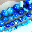 """Faceted Blue Striated Agate Round Gemstone Beads 15""""6,8,10,12mm Pick Size"""