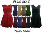 95A-PLUS SIZE 16-26 SKATER DRESS BELTED SLEEVELESS SHORT MINI PARTY WOMENS