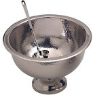 Hammered Stainless Steel Punch Bowl - Wedding Banquet Party Drink Serving Dish