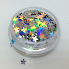Glitter stars sequins studs Nail art manicure craft deco - Silver Holographic
