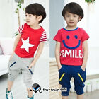 Korean Summer boys child kids Baby Star Smile T-shirt & Shorts Pants Sets 2-7Y