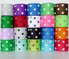 "1.5"" 38mm Polka Dots Grosgrain Ribbon 1 Yard 5 Yard 25 Yard 100 Yard Craft Sew"