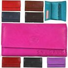 LADIES SOFT NAPPA LEATHER MATINEE PURSE WITH BACK & INNER ZIP Navy Pink Red Blue