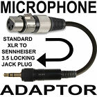 MALE / FEMALE XLR TO 3.5mm LOCKING JACK PLUG ADAPTER LEAD 4 MICROPHONE RECEIVER