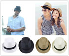 Unisex Solid Fedora Trilby Gangster Cap Lover Summer Beach Sun Straw Panama Hat