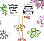20 Personalised JUST MARRIED Cupcake Party Pick WEDDING Candy Buffet Food Flags