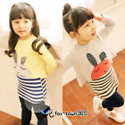 Autumn Baby Girls Child kids Toddlers Rabbit T-Shirt+Stripe Vest Dress Sets 2-7Y