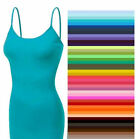 TANK TOP With Built in Bra Long CAMI Layering Spaghetti Strap Zenana S/M/L/XL