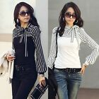 New Long Sleeve T-shirt Shirt Black Bowknot Striped Tops White Blouse S M L XL Z