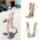 Women's Summer Lace Up Zipper Knee High Boots Comfy Gladiator Thong Flat Sandals