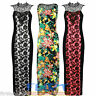 Womens Maxi Dress Ladies Floral Lace Top Slimming Panel Flower Full Length Party