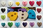 5pcs LARGE FLAT OPAQUE HEART BUTTONS 23mm-B510 VARIATION OF COLOURS