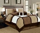 7 Pc Beige Brown Black Micro Suede Patchwork Comforter Bedding Set Twin Washable image
