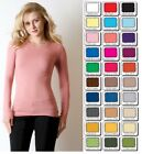 T SHIRT CREW Neck Long Sleeve STRETCH Misses/Plus Size S,M,L,1X,2X,3X  USA
