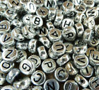 50 x Acrylic Silver Letter BEADS Alphabet Choice of A - Z Free UK Postage 7x4mm