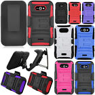 For LG Motion 4G MS770 Regard LW770 Rugged Hybrid Kickstand Holster Case Cover