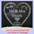 New MR & MRS Personalised in colour mirror acrylics heart Wedding cake Topper