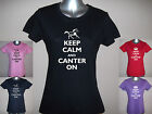 KEEP CALM AND CANTER ON, LADIES FUNNY HORSE T-SHIRT S M L XL XXL Glitter