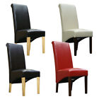LEATHER DINING ROOM CHAIRS SCROLL BACK CHAIR BROWN BLACK RED IVORY FURNITURE