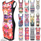 WOMENS LADIES FAB CELEBRITY SUMMER HOLIDAYS FLORAL MINI BODYCON PARTY DRESS 8-14