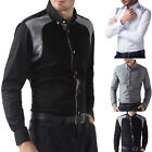 New Black/White/Grey Sexy Mens Slim Fit Casual Formal Dress Shirts Top T-Shirts