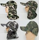 CAMOUFLAGE HUNTING FISHING HIKING CAP NECK FLAP COVER 4 SUN PROTECTION CAMO HAT