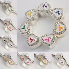 Wholesale Clear Crystal Czech White Heart European Charms Ribbon Beads Awareness