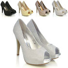 NEW WOMENS BRIDAL WEDDING PEEPTOE LADIES PLATFORM HEELS EVENING PUMPS SHOES SIZE