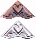 American Tag Heart Accents Decorative Corners Antique Copper or Nickel Finish