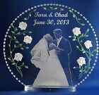 Photo Etched wedding cake topper clear glass like acrylic engraved/shipped free