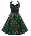 HELL BUNNY 50's horror FREDDY DRESS rockabilly BLACK UK 8 & 10