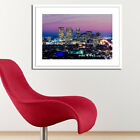 LA AT NIGHT. LOS ANGELES SKYLINE USA FRAMED PHOTO PRINT GLOSS PHOTO PICTURE ART