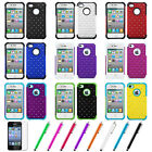 Color Hybrid Rugged Bling Hard/Soft 2-Piece Deluxe Case For iPhone 4 4S+Film+Pen
