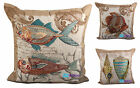 """Tapestry Linen Sealife Cushion Cover, Embroidered Scatter Cushions, 18""""x18"""""""