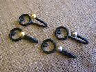 2 Black metal wire loop & ball curtain tassel hooks. Wall - coat diy cup hooks