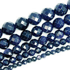 "Faceted Blue Sand Stone Round Beads 15"" 4mm 6mm 8mm 10mm 12mm"